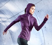 Women Thermal Hooded Running Sweater, Purple