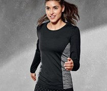 Women's Longsleeve Top, Black/Gray