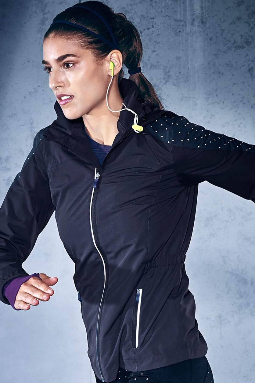 Wind-Protection Running Jacket, Black/Purple