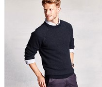 Men Knit Sweater, Dark Blue
