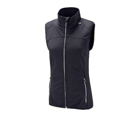 Women's Hooded Soft-Shell Sleeveless Jacket, Black