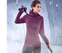 Women Thermal Running Shirt turtleneck, Purple
