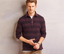 Men's Poloshirt Longsleeve, Bordeaux