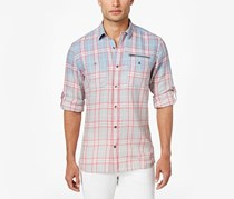 Inc Men's Ombre Plaid Cotton Shirt, Lightning Combo