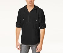 INC Mens Half-Zip Shibui Hoodie, Deep Black