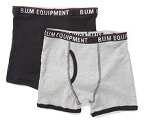 B.U.M Equipment Little Boys 2 Set Boxer Brief, Grey/Black