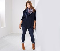 Thin Knit Pullover With Woven Work, Navy Blue