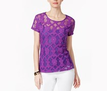 Inc Embellished Embroidered Top, Puple