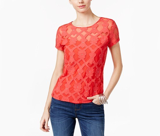 International Concepts Petite Embroidered Illusion Top, Hibiscus Bloom