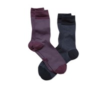 Men's Socks, Set of 2, Dark Gray/ Berry