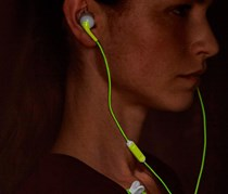 Sports Earphones with Fluorescent Cable,White/Lime Green