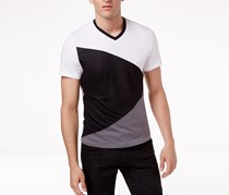 Men's Diagonal Colorblocked T-Shirt, White/Black Combo