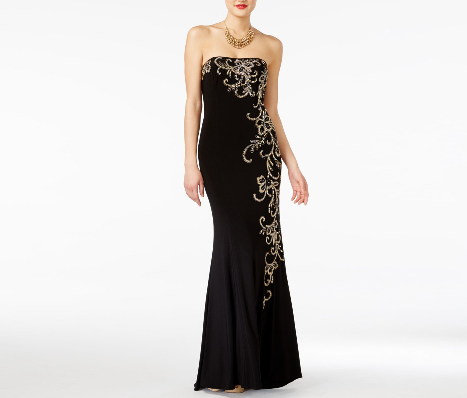 Jump Apparel Juniors Strapless Embellish Gown, Black/Gold