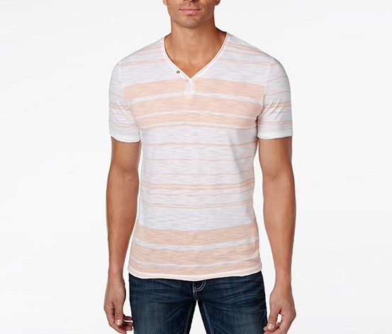 International Concepts Men's Striped T-Shirt, Peach Melba