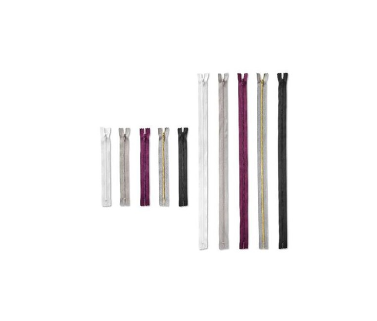 10 piece zipper set, White/Berry/Gray/Black