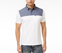 Inc International Concepts Men's Colorblocked Cotton Polo, White Pure