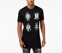 INC Mens Long Embroidered Graphic, Black