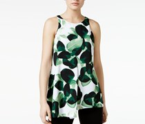 Alfani Petite Leaf-Print Asymmetrical Top, Soft Botanical