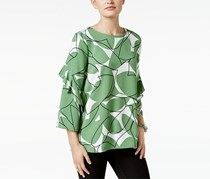 Alfani Women's Ruffle-Sleeve Top,  Green Colorblock Leaves