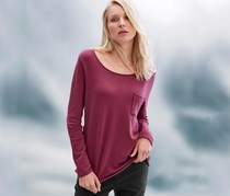 Women's Round Neck Pullover, Rosewood