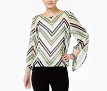 Alfani Angel-Sleeve Blouson Top, Chevron Lines