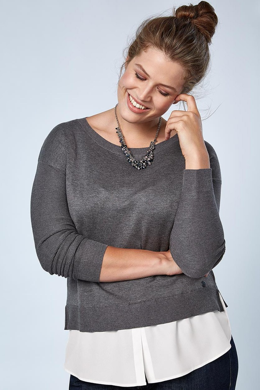 Women's Double Layered Sweater, Anthracite