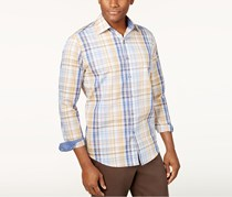 Tasso Elba Minuto Rustic Plaid Long Sleeves Shirt, Birch Beige Combo