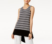 Alfani Striped High-Low Top, Black/White