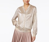 Petite Metallic Pleated Bomber Jacket, Silver