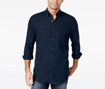 Mens Long-Sleeve Herringbone Shirt, Navy Blue