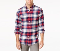 John Ashford Men's Long-Sleeve Plaid Shirt, Ruby Red
