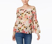 Inc International Concepts Bell Sleeve  Off-The-Shoulder Blouse, Mixed Painies