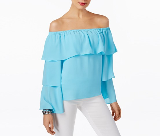 Inc International Concepts Petite Tiered Off-The-Shoulder Top, Bachelor Button Blue