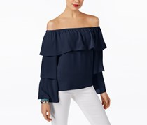 International Concepts Petite Tiered Off-The-Shoulder, Deep Twilight