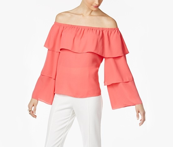 91b29ec6cca Shop INC Inc Petite Tiered Off-The-Shoulder Top, Polished Coral for ...