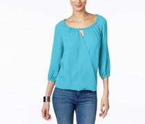 International Concepts Surplice Keyhole Blouse, Bachelor Blue