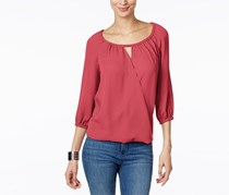 Inc International Concepts Surplice Keyhole Blouse, Polished Coral