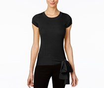 INC Petite Tie-Hem Sweater Top, Black