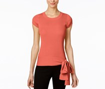 INC Petite Tie-Hem Sweater Top, Polished Coral