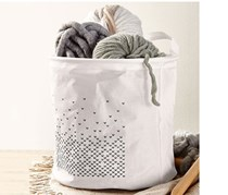 Storage Basket, Round, Foldable, White