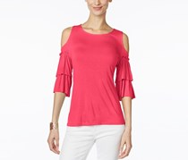 International Concepts Ruffled Off-The-Shoulder Top,  Polished Coral
