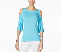 INC Ruffled Off-The-Shoulder Sleeve Top, Bachelor Blue