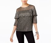 INC Petite Tiered Shine Top, Silver