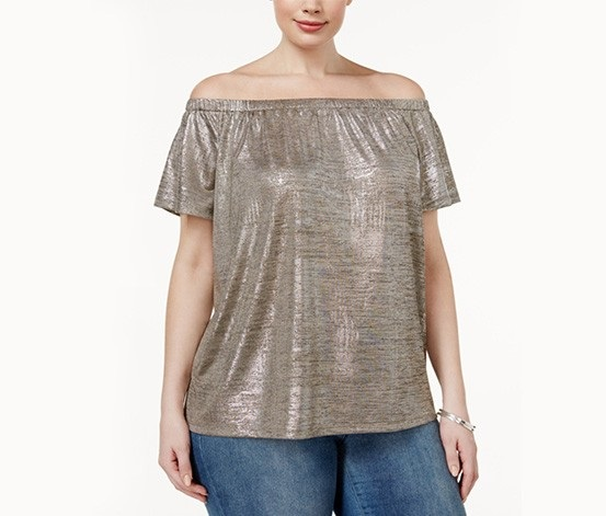4780df36eab Inc International Concepts Plus Size Metallic Off-The-Shoulder Top, Silver