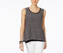 INC Petite Layered-Look Split-Back Top, Deep Black