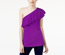 International Concepts Ruffled One-Shoulder Top, Vivid Purple