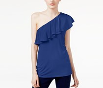 INC Ruffled One-Shoulder Top, Goddess Blue