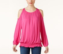 INC International Concepts Smocked Off-The-Shoulder Top, Intense Pink