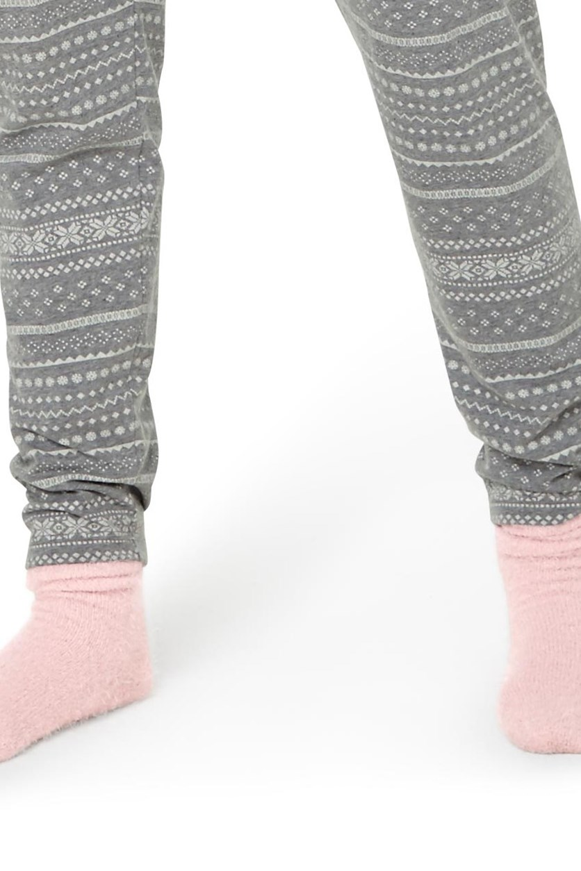 Women's Cosysocks, Set of 2, Gray/Pink