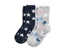 Girls Kids, Snuggle Socks, Blue/Light gray with print